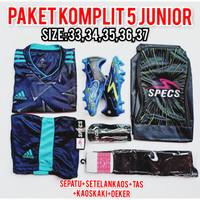 (Paket komplit junior) sepatu bola Specs dragon biru hitam Nike adidas