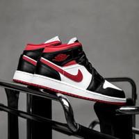 Sepatu Sneaker Sneakers NIKE AIR JORDAN 1 MID - Gym Red/Black/White - 44.5