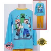 Baju Tidur Stelan Kaos Anak Cowok Minecraft 4PP