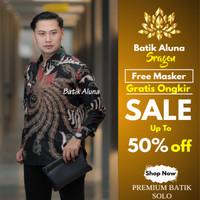 Kemeja Batik Pria Kombinasi Casual Baju Batik Keris Parang Katun B09