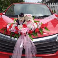 Hiasan bunga mobil pengantin, dan sepasang boneka - Merah Muda
