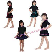 Baju Renang Anak Perempuan - Diving Rok Anak Anak Polos Lis Warna - DRA PINK, M