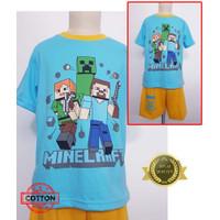 Baju Tidur Stelan Kaos Anak Cowok Minecraft 4DD
