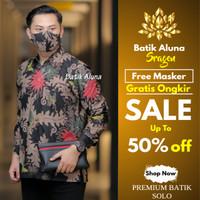 Kemeja Batik Pria Kombinasi Casual Baju Batik Keris Parang Katun B63