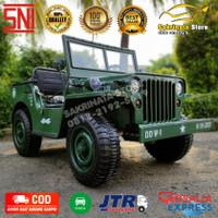 Mobil Anak Mainan Aki Jeep Willys 3 Seat Ban Karet
