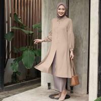 Atasan Blouse Tunik Muslim Baju Wanita Tangan Balon Busui Blus DIANARA - Mocca