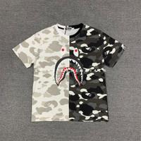 BAPE By A Bathing Ape Shark Half Camouflage (Black White Camo) T-Shirt