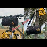 Tas sepeda stang depan tas bentuk tabung waterproof - Hitam