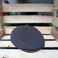 TOPI FLAT CAP KLASIK BAHAN WOOL /III - Coklat Motif, M