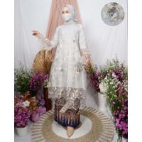 Stelan Kebaya Tunik Tile Brukat Bordir Modern Baju Pesta Brokat Muslim