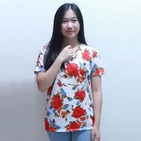 Baju Wanita / Blouse Wanita motif bunga - Putih