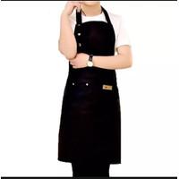 Gudang Apron Waterproof Celemek Masak Dapur Pria Wanita Chef Pelayan - Hitam
