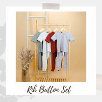 RIB BUTTON SET | BAJU MAIN SETELAN PANJANG ANAK LAKI LAKI PEREMPUAN