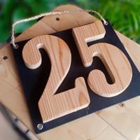 Nomor Rumah Kayu Timbul 2 Angka/Huruf