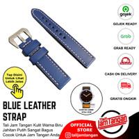 Tali Jam Tangan Kulit Warna Biru Jahitan Putih Ukuran 20mm, 22mm, 24mm