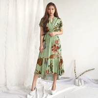 BM - ZEVIA Dress Wanita Motif Tropical Baju Fashion Elegant CDD