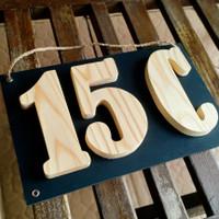 Nomor Rumah Kayu Timbul 3 Angka/Huruf