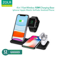 Zola 4 IN 1 Wireless Fast Charger 15W Pad Dock For Airpods & Iwatch