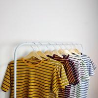 Lengan Pendek Kaos Stripe Belang Bergaris Salur Cotton CVC Pria Wanita - White - Black, S