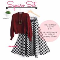 baju setelan rok wanita set panjang Square Set