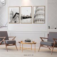 Lukisan Dinding- Set White Cities -Frame Gold 40x60