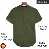 20643 - 20650 Baju Koko Pria Terbaru 2021 KOKO DOP DYE Koko Muslim Pri - hijau tua garis, M