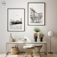 Lukisan Dinding-Set London in White-Matte-Frame Black 40x60