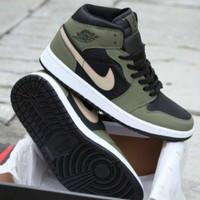 Sepatu Nike Jordan 1 Mid Olive Cargo Black Hijau Hitam Premium