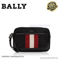 Bally Men Caliros Clutch Bag Black Stripe 100% ORIGINAL BALLY