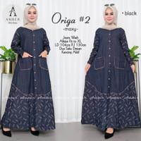 Origa #2 / Baju Gamis Perempuan Muslim Maxy Dress Bahan Jeans Wash