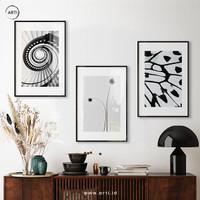 Lukisan Dinding-Set Butterfly Stairs-Matte-Frame Black 40x60
