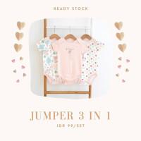 jumper bayi perempuan/jumper set3in1/jumper isi 3pcs - Pink muda, 0-3 Bulan