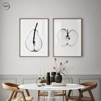 Lukisan Dinding- Set Pear and Apple -Frame Dark Brown Wood 40x60