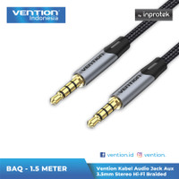 Vention Kabel Audio Jack Aux 3.5mm Stereo Hi-Fi Braided - BAQ, 2 Meter
