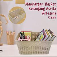 Keranjang Asvita 282*Keranjang Manhattan Basket*Serbaguna*Cream
