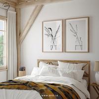 Lukisan Dinding-SetMinimal Bottles-Matte-Frame Kayu Muda 40x60