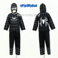 Baju Setelan Kostum Anak Karakter Superhero SPIDERMAN Black 8-11 Tahun