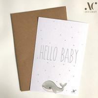 Kartu Ucapan Kelahiran Bayi A6 10x15 Hello Baby Gray Whale Card
