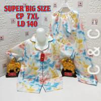 Baju tidur piyama cp(7XL)Ld 140/extra super jumbo/katun micro - Aquatic salem, 7XL
