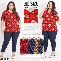 Baju Wanita Baju Atasan motif bunga/ Blouse bunga JUMBO wanita - Maroon