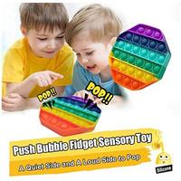 Mainan Squishy Bubble Pop It Bahan Silikon Warna Pelangi Untuk Penghil