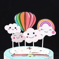 cake topper balon udara glitter awan smile