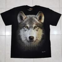 Kaos Rock Chang Tee HD Import Serigala Wolf Putih Abu Glow In The Dark - XL