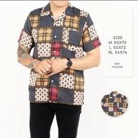 Baju Kemeja Lengan Pendek Pria Motif Kotak Reguler Fit Squared Premium - Purple, M