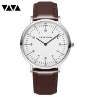 Jam tangan pria tipis Analog Waterproof / Men's watch Vava Voom - Coklat