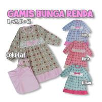 Baju Gamis Anak Flower HIjab Pita Pakaian Muslim Bayi Perempuan 1-3 Th