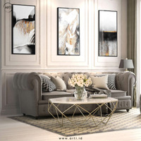 Lukisan Dinding - Set Abstract Three Luxurious - Fiber Hitam - 40x60