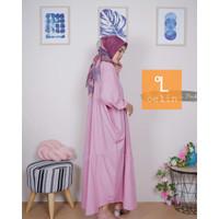 Gamis Wanita Terbaru Muslim Syari Katun Polos by bajuoelin - Pink