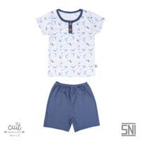 CUIT Setelan Tangan Pendek Pendek Celana Pendek Taka Series Button - Blue Graphite, L (12-24 bulan)