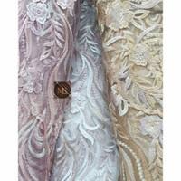 Kain Brokat Tile Motif Akar Bunga Meteran Bahan Gaun Dress